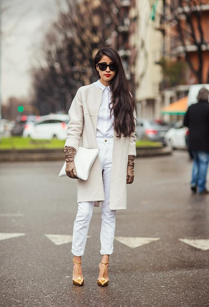 Tenue avec pantalon blanc - Tenue jean blanc ...