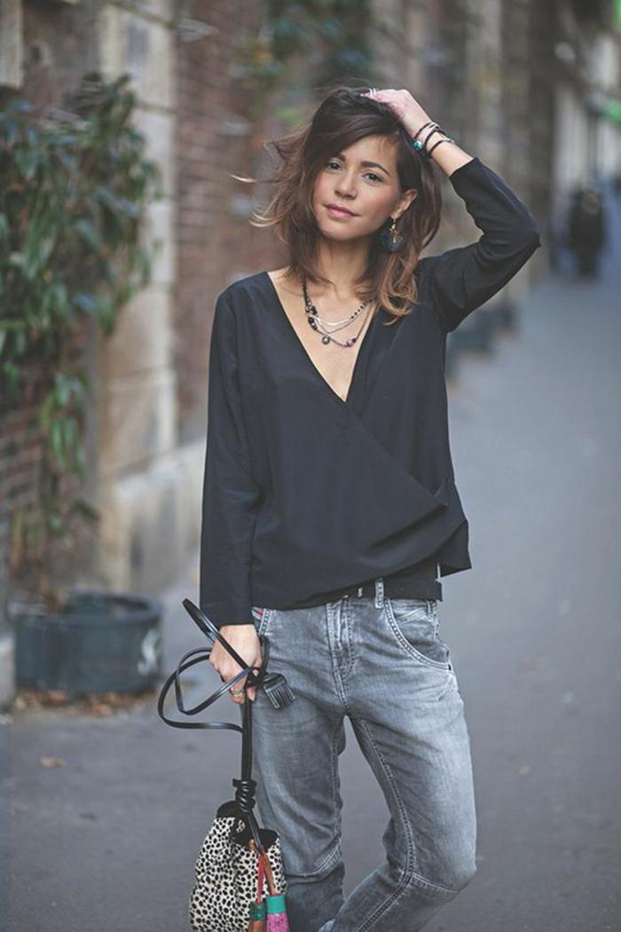 Superbe tenue swag jupe idee tenue classe femme jean gris et top noir
