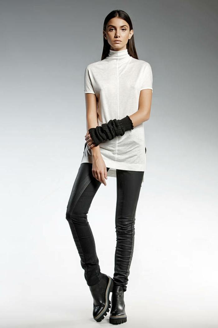blouse blanche d'inspiration asiatique avec pantalon noir moulant sexy