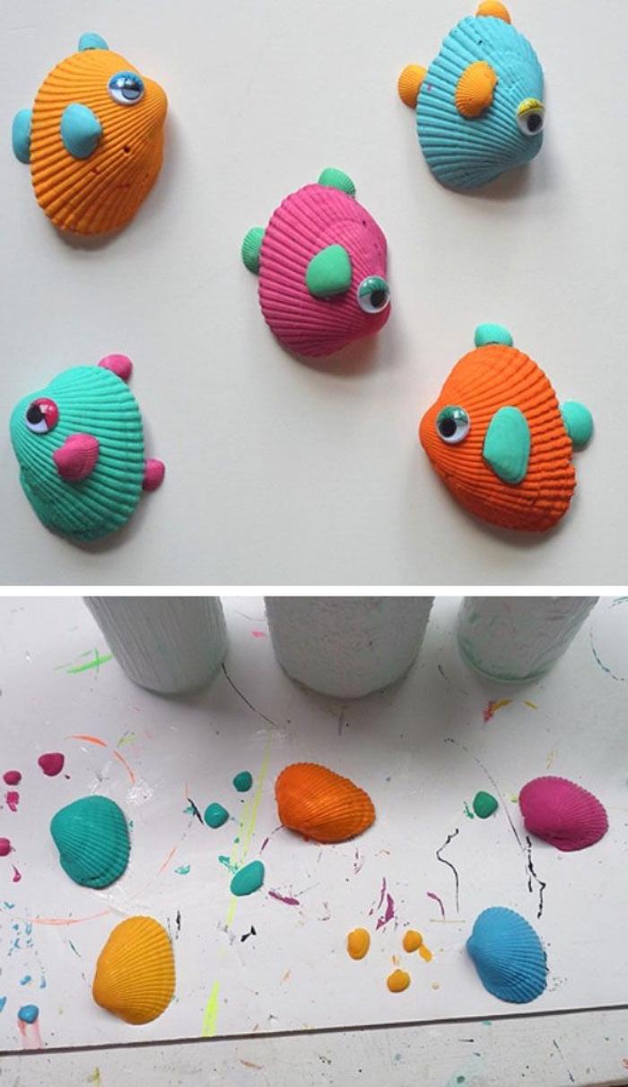 exemple de bricolage enfant, activité manuelle primaire, des coquillages transformés en petits poissons multicolores, exotiques aux yeux mobiles, coquillages peints