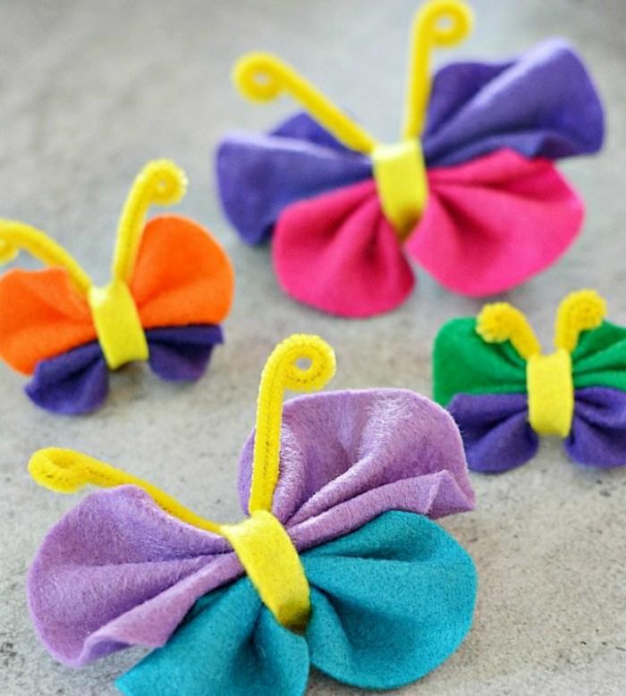 activité manuelle maternelle primaire, des papillons multicolores en papier de soie, idée activité manuelle