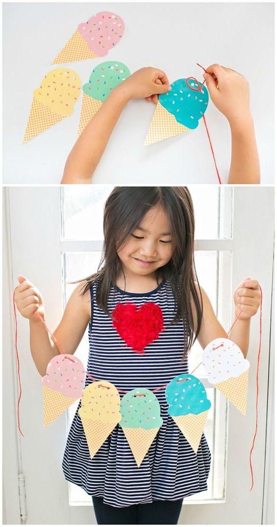 une guirlande de glaces en papier, comment fabriquer une decoration maison été, activités manuelles
