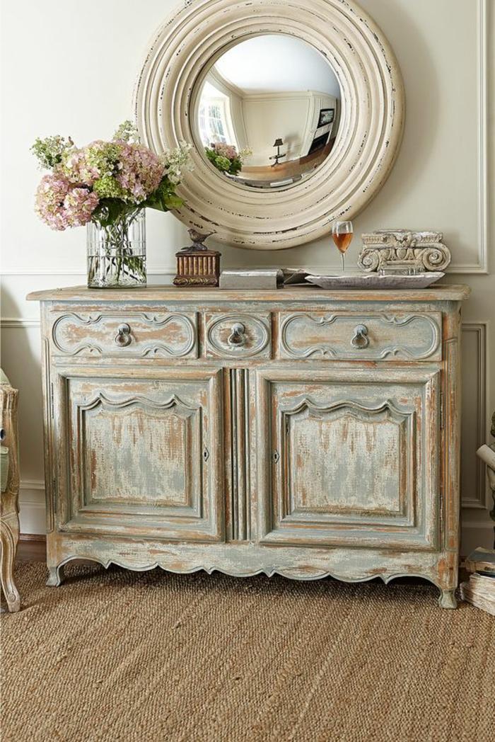 meuble baroque buffet avec miroir oeil de sorcière style vintage romantique campagnard shabby chic
