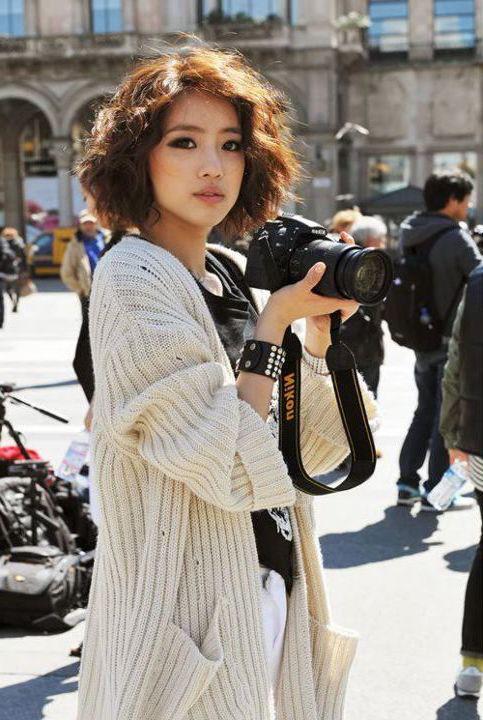 idée de carré flou style grunge, femme aux traits asiatiques, look bohème chic, photographie paysage