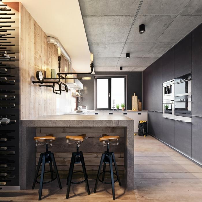 idee deco industrielle, meuble noir et bois, murs gris, plafond en béton, parquet en bois, pipes apparents