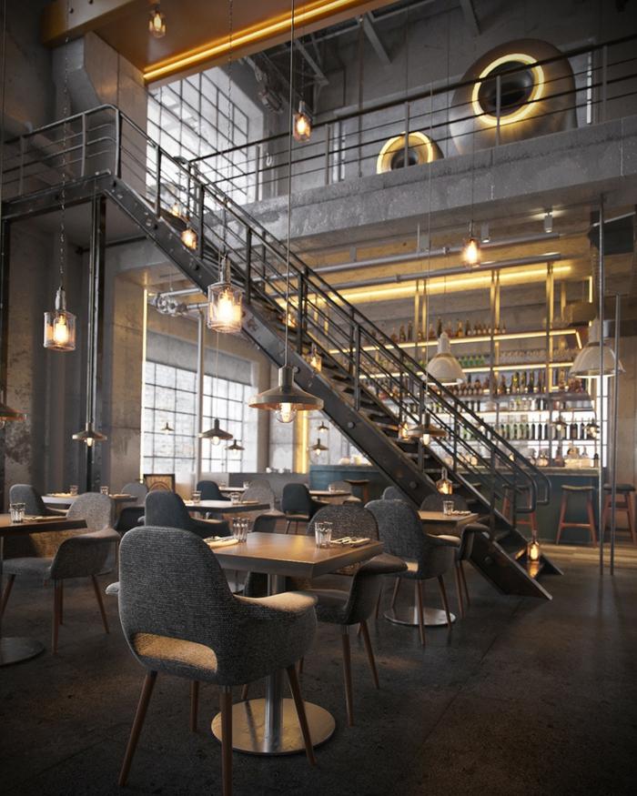 meuble noir et bois, tabourets de bar en bois, lampes suspendues, idee deco industrielle, murs gris, grandes fenêtres à carreaux