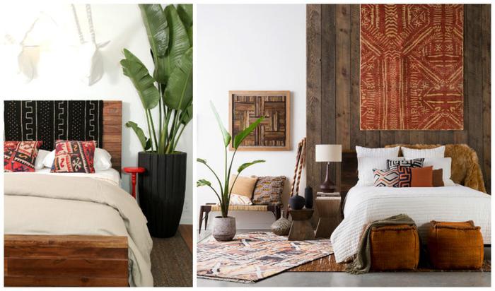 comment adopter le style ethnique chic dans la déco, chambre à coucher africaine aux accents déco en bois