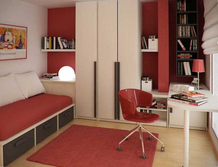 une chambre d'ado pour un maximum de gain de place en beige et terre de sienne