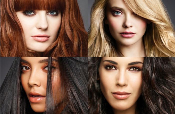 comment choisir sa couleur de cheveux, yeux bleus, femme avec cheveux noirs, yeux marron, coloration blonde