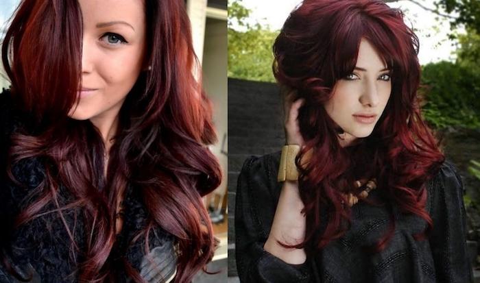 teinture rouge bordeaux, veste en cuir noir, yeux bleus, maquillage avec eye-liner noir, boucles, coiffure femme, coloration bordeaux