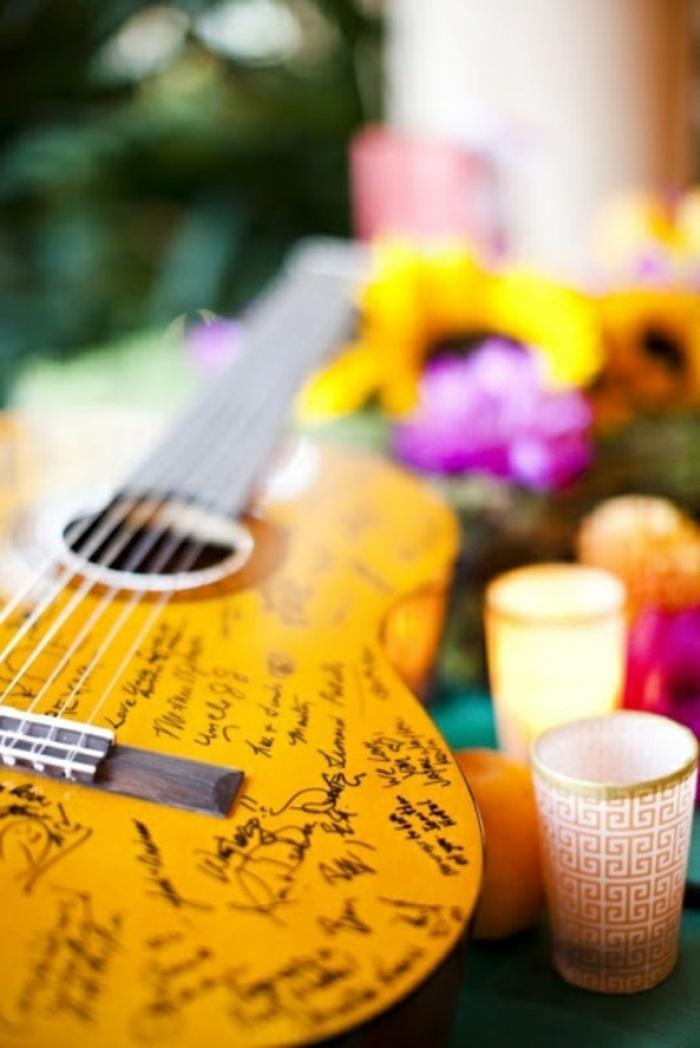 Ritual mariage livre d or mariage rose et gris idée originale livre invité guitare avec messages des hotes