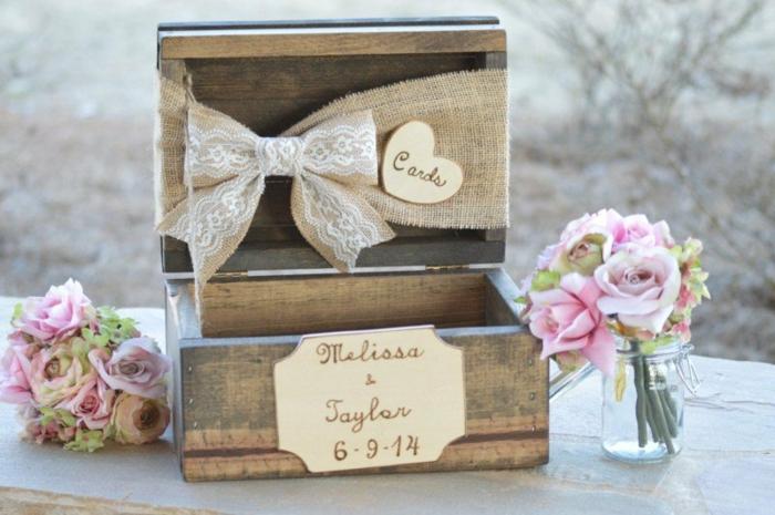 Livre d'or original mariage déco diy chouette idée faire soi meme coffret en bois pour messages des invités