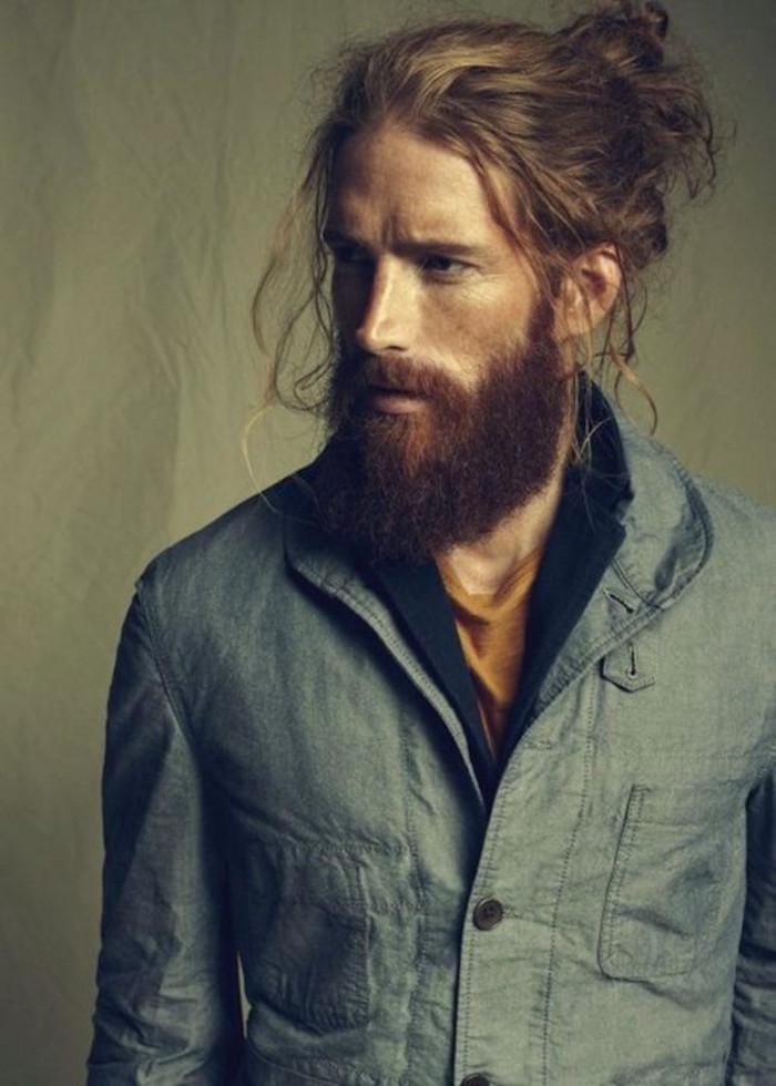 modele coupe de cheveux homme mi long et barbe hipster