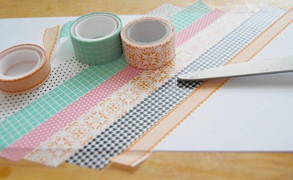 idée comment fabriquer un pot a crayon diy, décoration papier cartonné, décoré de bandes de washi tape, idée de bricolage adulte