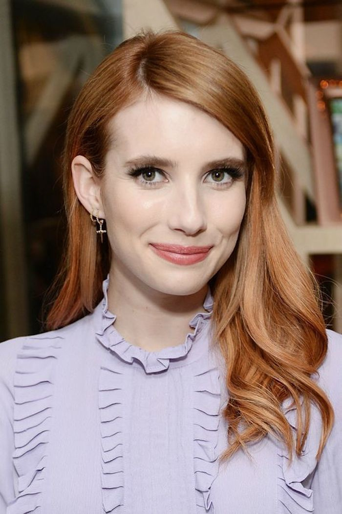 des cheveux sublimes de couleur roux vénitien flamboyant associés avec un maquillage nude