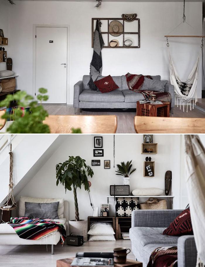 une ambiance bohème chic dans un appartement au design contemporain, un mur en cadres et des boîtes de rangement murales
