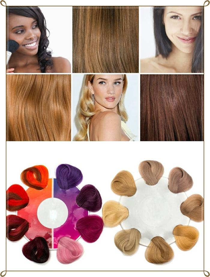 quelle couleur de cheveux choisir, changer de couleur de cheveux, palette de couleurs, femme blonde, cheveux noirs, rouge à lèvre rose
