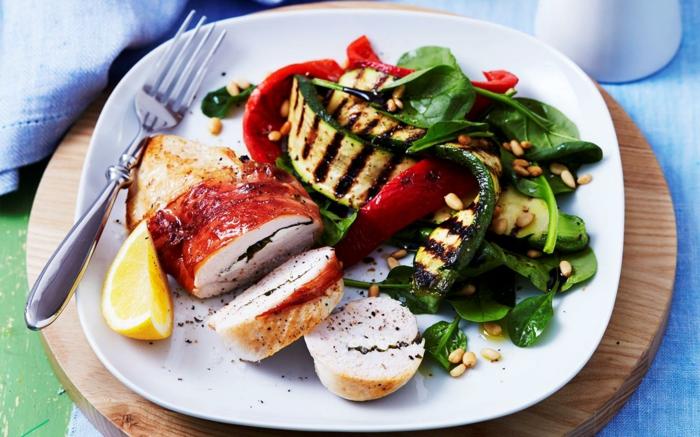 recette équilibrée, comment préparer un diner sain, portions, glucides, protéines, plat équilibré