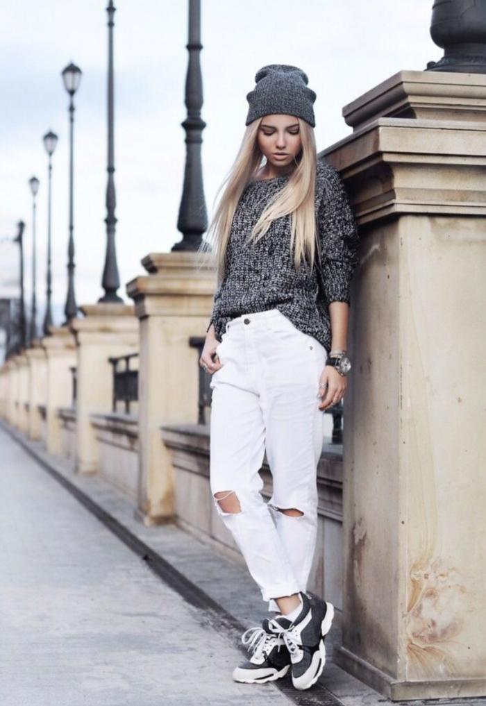 Fille bien habillée tenue lycéenne mode 2017 ootd jean blanc