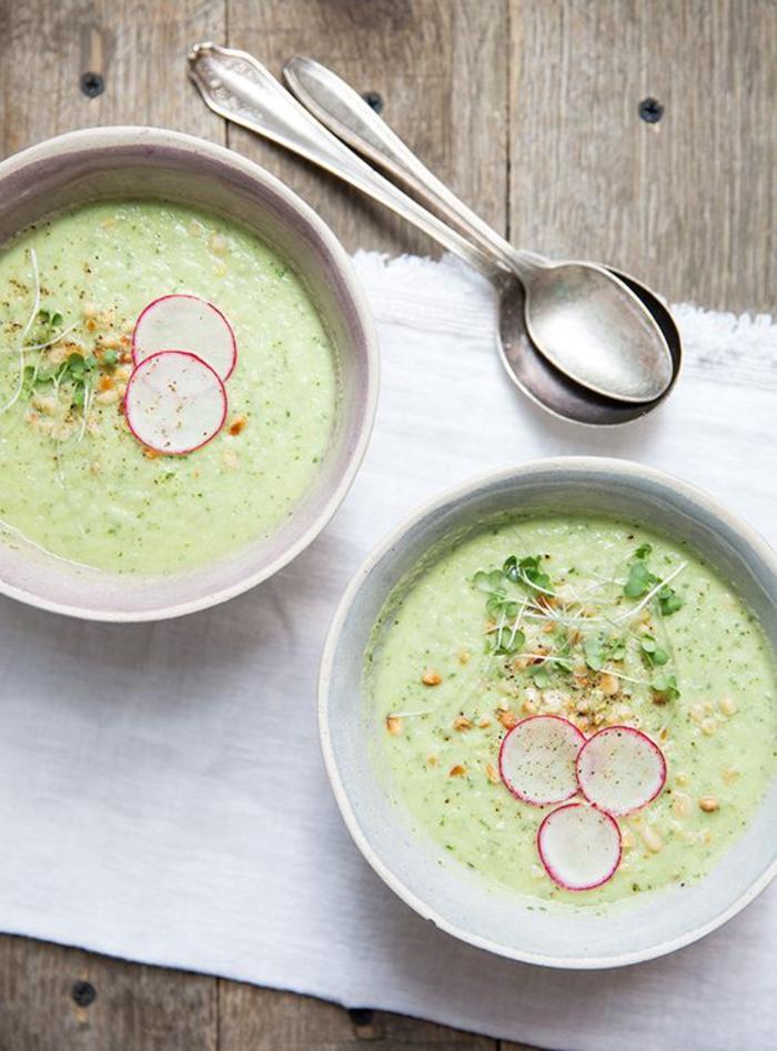 recette de gaspacho andalou vert de concombres et de radis, soupe légère au goût velouté