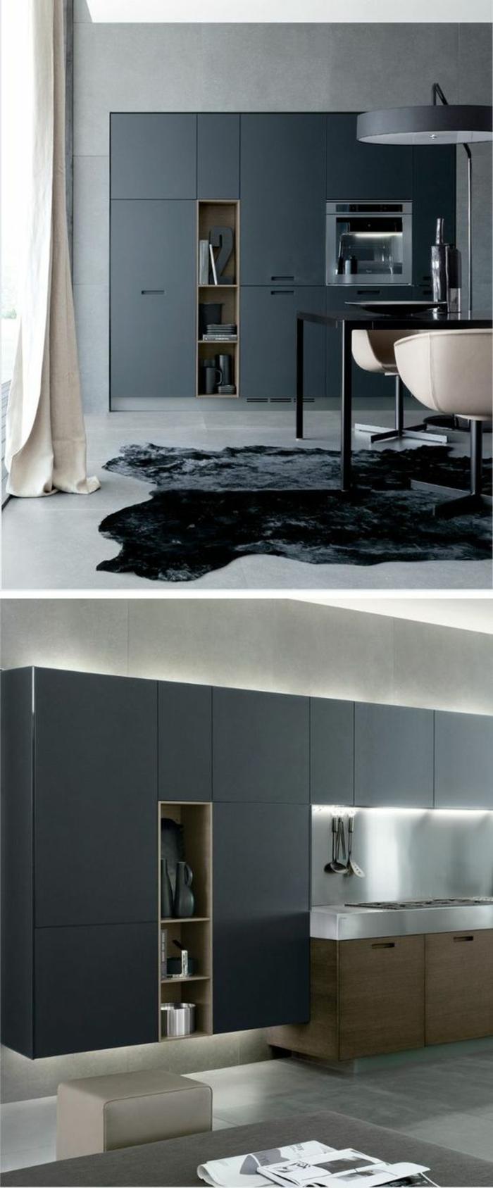 cuisine noire minimaliste meubles aux lignes pures et simples