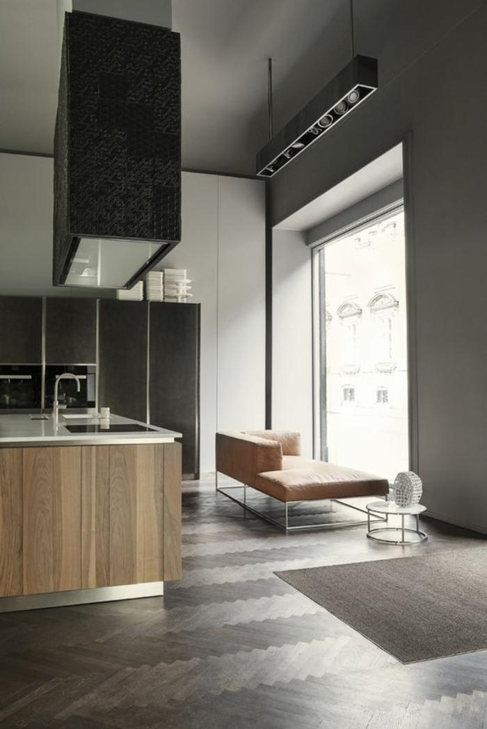 cuisine bois et noir parquet gris plan de travail blanc avec revetement en PVC imitation bois couleur taupe