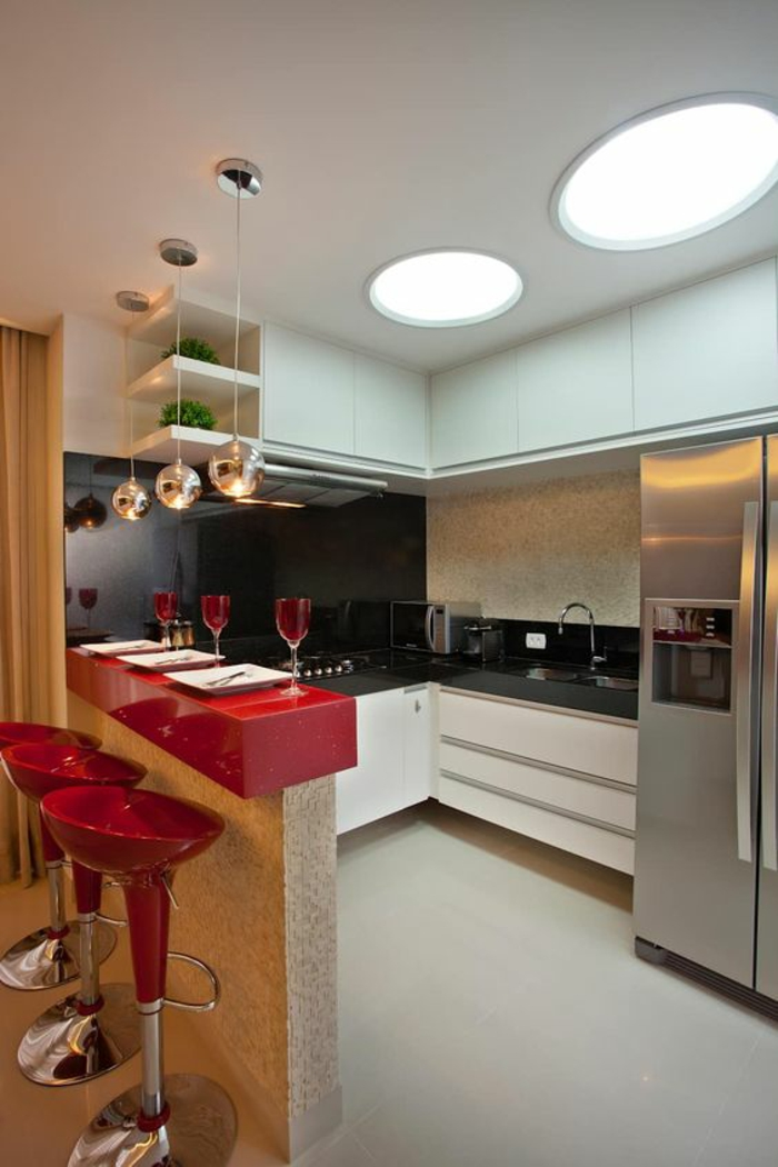 1001 id es pour cuisine noire des conseils comment l for Cuisine en rouge et blanc