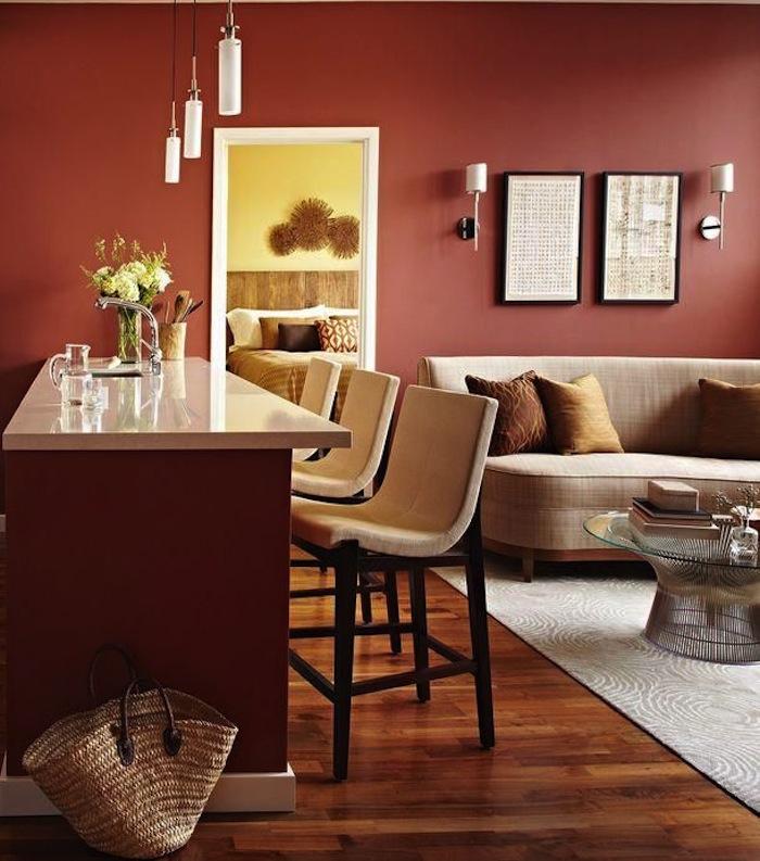 salon aux nuances de couleur terre, peinture couleur sienne qui fait rehausser les meubles en beige au design épuré