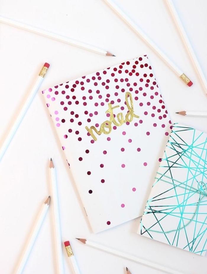 idée ativite manuellle facile, comment customiser son agenda, cahier motifs colorés, idées scrapbooking, crayons blancs