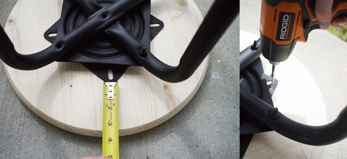 chaise industrielle, roulette mètre ruban à mesurer, siège de tabouret en bois, meubles aux pieds noirs