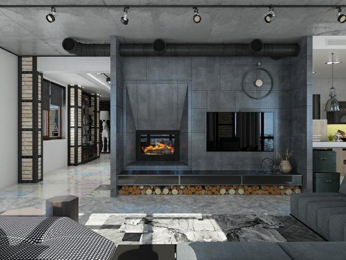 meuble industriel, colonne décorative en briques et fer, carrelage multicolore, canapé d'angle gris, cheminée noire