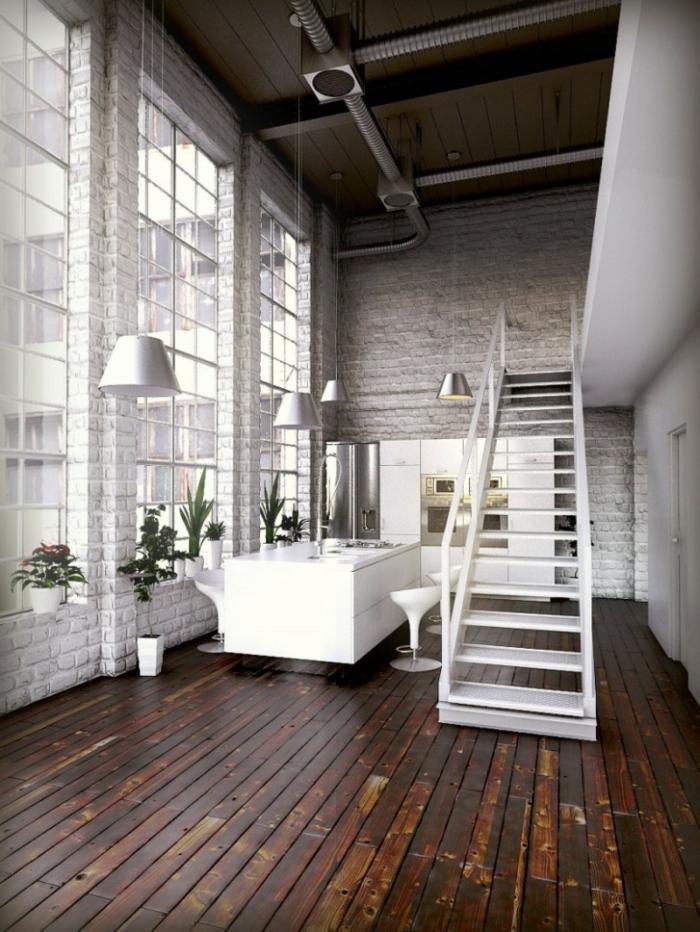 idee deco industrielle, grandes fenêtres, pipes apparents, escalier blanc, commode blanc, lampes suspendues en argent