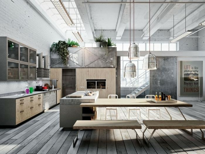 idee deco industrielle, table en bois, plafond blanc, murs en béton, commode de cuisine en bois, murs en briques