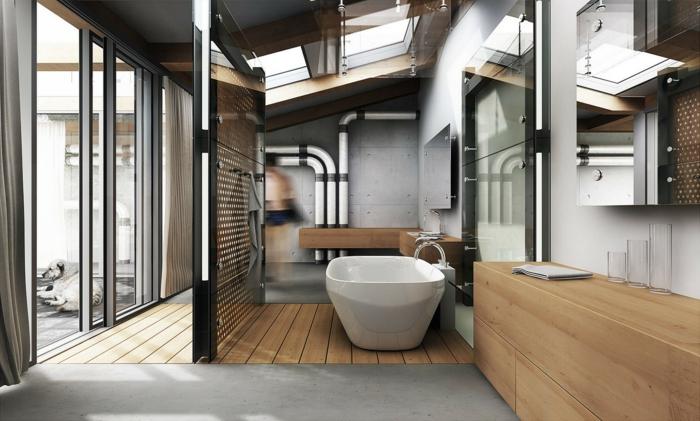 idee deco industrielle, portes coulissantes, chien, parquet en bois, décoration murale en verre, baignoire blanc