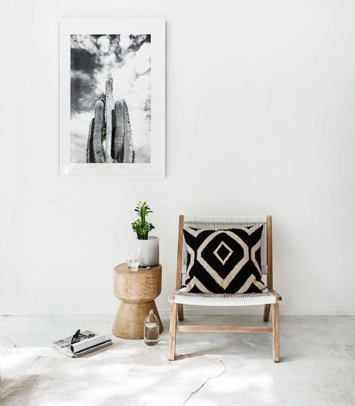 déco ethnique de style africaine, un poster photo noir et blanc imprimé cactus, coussin ethnique à motif géométrique