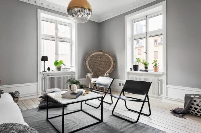 une déco scandinave moderne en blanc et gris associée à des accents ethniques
