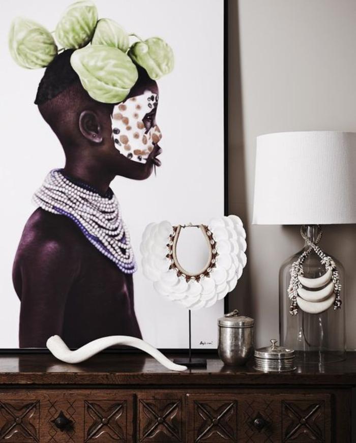 un poster photo en grand format à motif africain, comment adopter la déco ethnique dans un intérieur contemporain