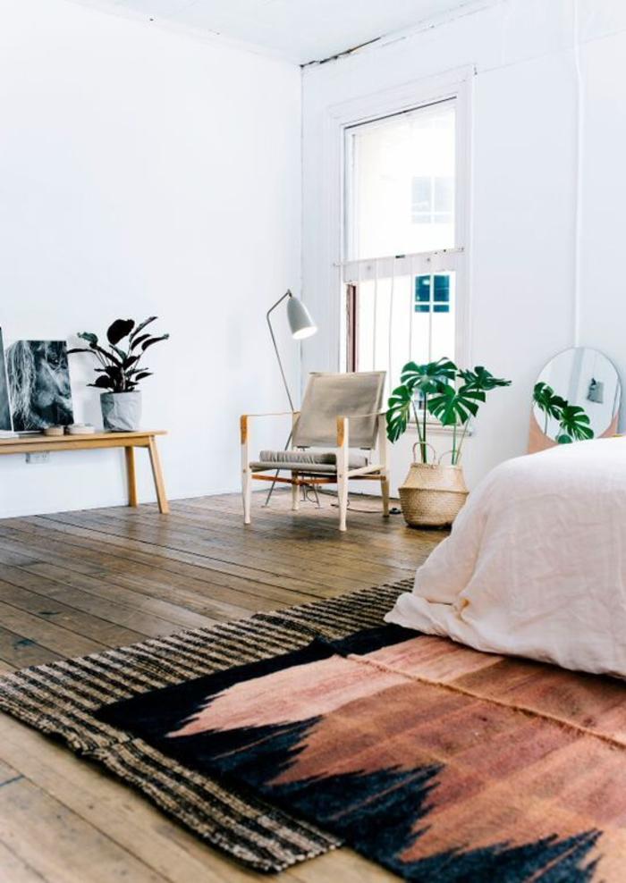 une chambre à coucher bohème chic à déco minimaliste, une ambiance bohème chic conviviale