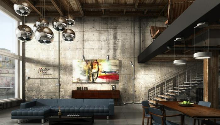 meuble noir et bois, plafond avec poutre, lampes suspendues en métal, chaise en bois, peinture, murs en béton