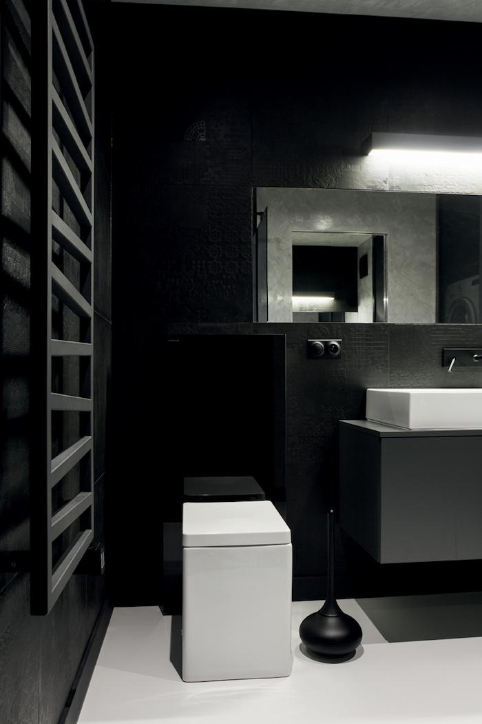 salle de bain moderne, échelle décorative en bois, murs noirs, ambiance masculine, miroir rectangulaire