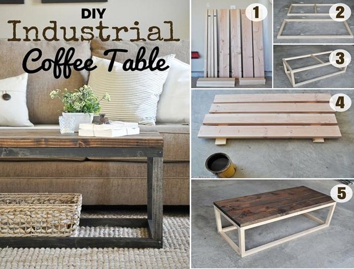 table basse industrielle, projet diy, tapis beige, fleurs vertes, magazines, coussins décoratifs, idee deco industrielle