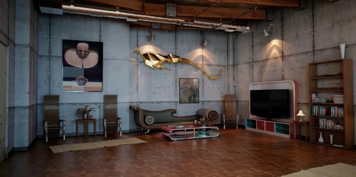 meuble industriel, parquet marron, plante verte, table basse rouge, décoration murale en or, plafond avec poutres, murs en béton