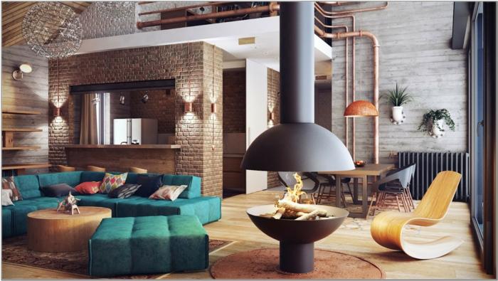 idee deco industrielle, plafond en bois, canapé vert, table basse ronde, cheminée, plantes vertes, pipes apparents