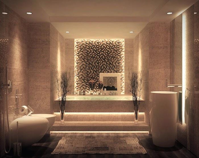 salle de bain zen, cuvette de wc ronde, douche, tapis moelleux, mosaïque, plafond suspendu