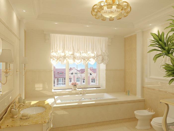 salle de bain moderne, couleurs neutres, bouquet de fleurs rose, dallage beige, plafond avec décoration en plâtre
