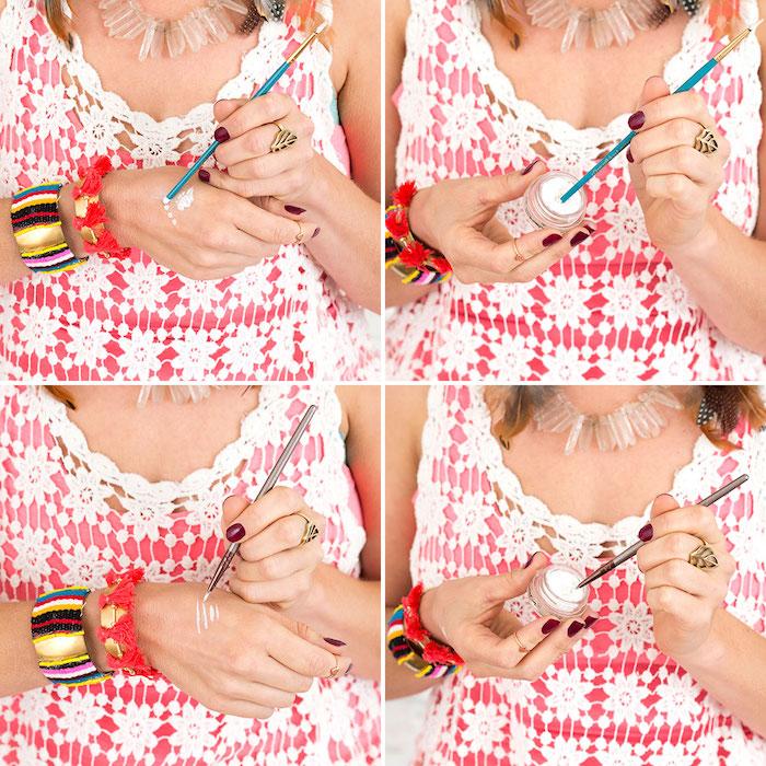 maquillage carnaval, tutoriel comment faire un dessin sur le visage, bracelet ethnique, pinceau visage, manucure rouge foncée