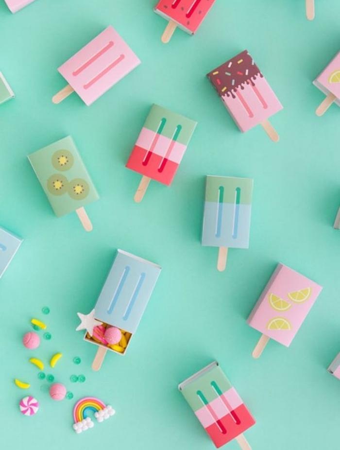 boites d alumettes repeintes à motif été, tropicaux et remplis de bonbons et de confettis, bricolage facile