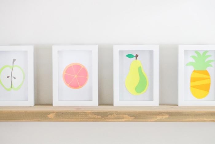 idée activités manuelles pour enfants, des fruits tropicaux en papier dans un cadre de peinture, bricolage intéressant