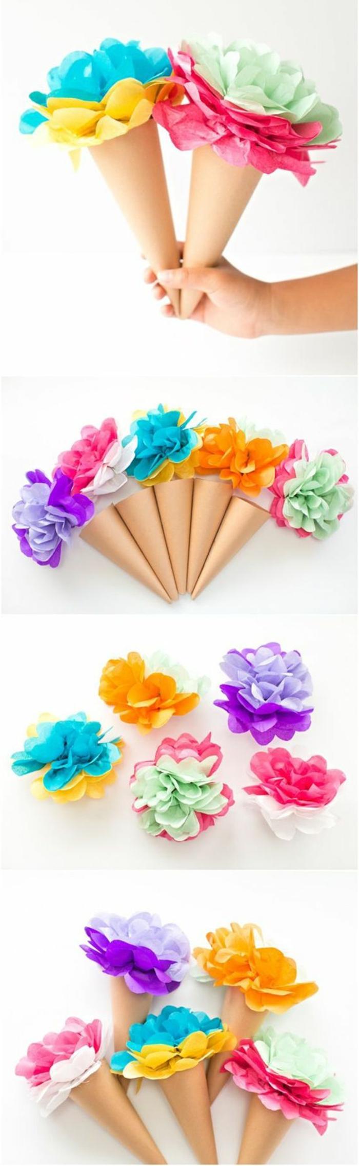 cornets a glace en papier, boules de fleurs en papier multicolores, idée de bricolage enfant été, vacances