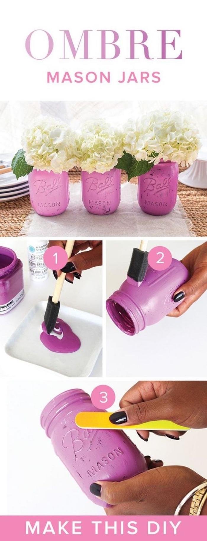idée comment fabriquer un vase de fleur, effet ombré, peinture couleur lilas, bouquet de fleurs blanches, activité créativé été, centre de table floral